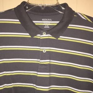 Men's Merona Polo, gray w yellow /white stripes🎃